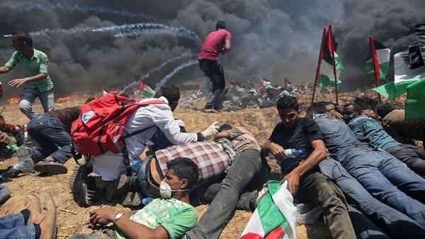 زخمی شدن ۱۴ فلسطینی توسط نظامیان اسرائیل