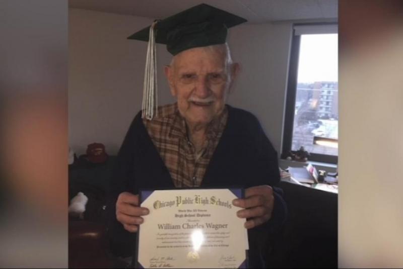 پیرمردی که در سن 94 سالگی دیپلم گرفت+فیلم