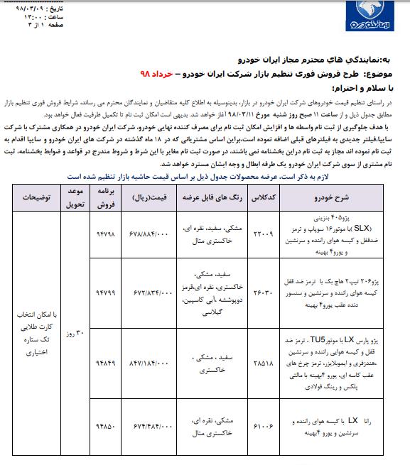 فروش ۴ محصول ایرانخودرو از ساعت ۱۱