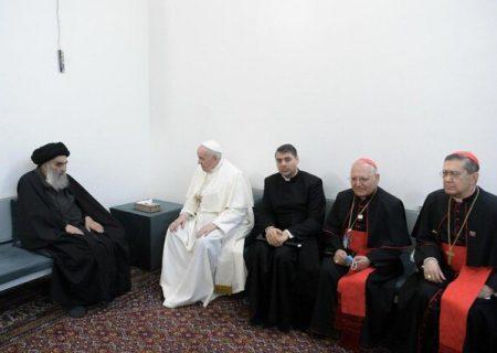 در دیدار آیتالله سیستانی با رهبر کاتولیکهای جهان چه گذشت / پاپ نجف را ترک کرد
