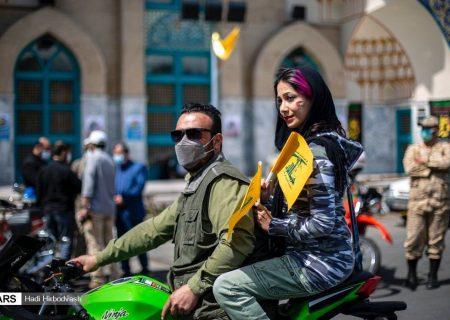 دختری با حجاب متفاوت در راهپیمایی روز قدس/ عکس