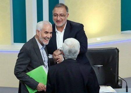 خنده زاکانی و مهرعلیزاده بعد از مناظره سوم / عکس