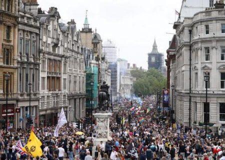 تظاهرات ضد قرنطینه در لندن/ عکس