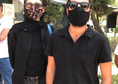 نوید محمدزاده و فرشته حسینی در تجمع اعتراضی هنرمندان درباره خوزستان/عکس
