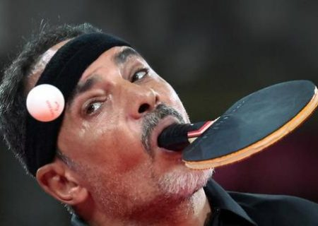 پینگ پنگ با دهان در مسابقات پارالمپیک توکیو/عکس
