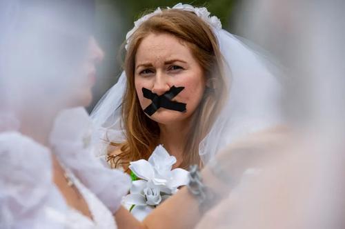 تظاهرات فعالان مخالف ازدواج کودکان در آمریکا/ عکس