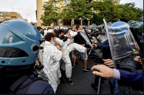 درگیری معترضان به تغییرات اقلیمی با پلیس در ایتالیا/ عکس
