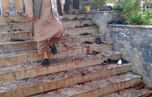 پله های خون آلود مسجد شیعیان در افغانستان /عکس